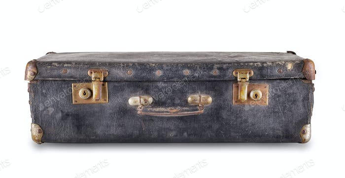Black old suitcase lying
