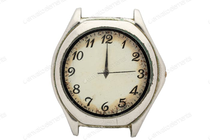 Chrome watch with white dial and Arabic numerals. Isolated over white background.