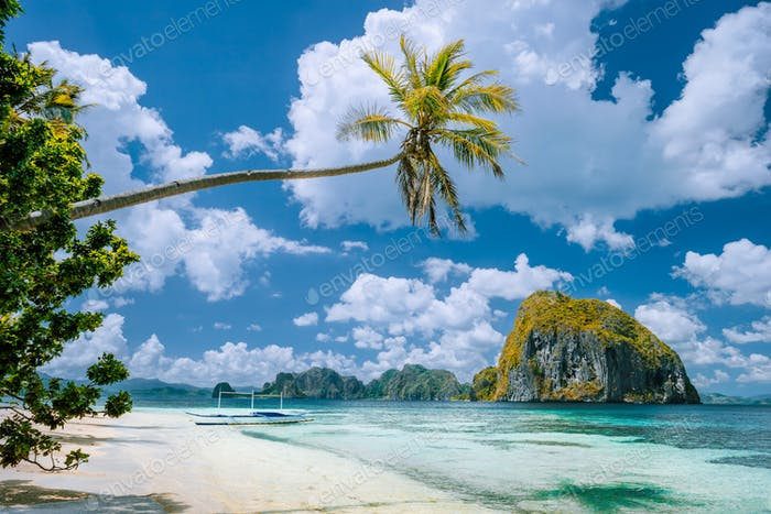 El Nido, Palawan, Philippines. Tropical scenery of exotic beach with palm tree, boat on the sandy