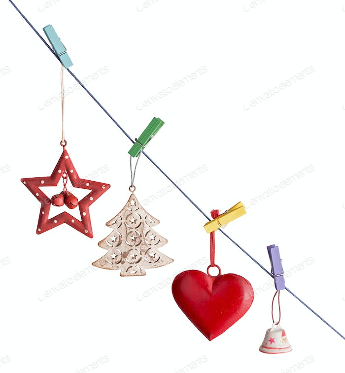 Christmas decorations hanging obliquely isolated