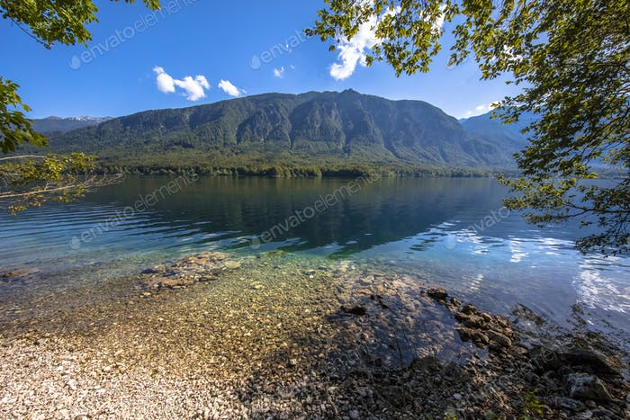 Emerald waters of lake Bohinj