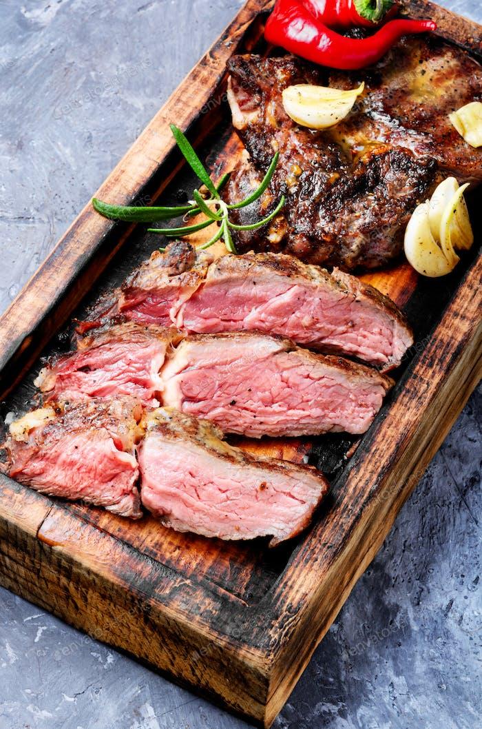 Grilled juicy steak