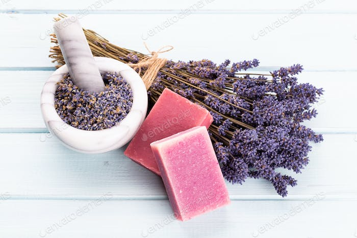 Natural cosmetics with lavender and orange, lemon.