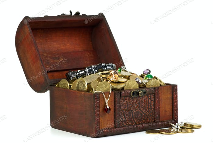 Treasure: wooden chest with golden coins, gems, rings, e.t.c.
