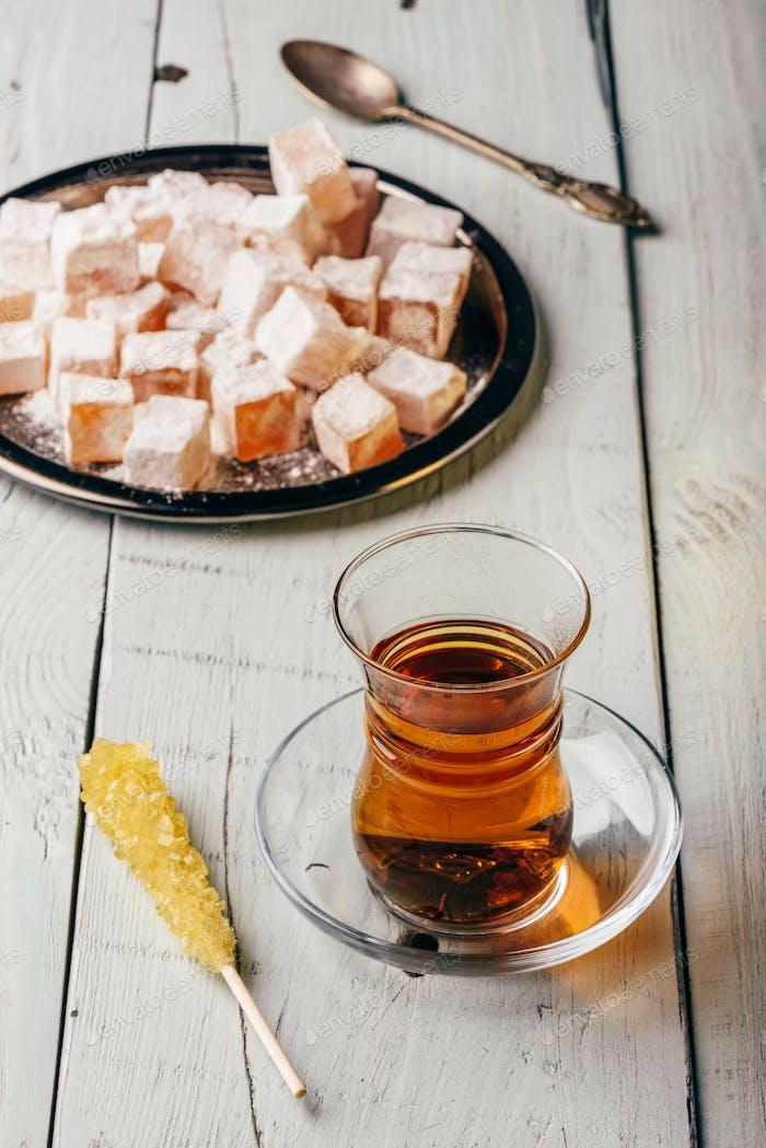 Tea with turkish delight Rahat Lokum