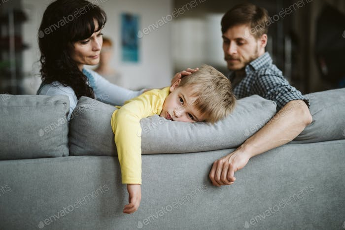 Bored kid and parents