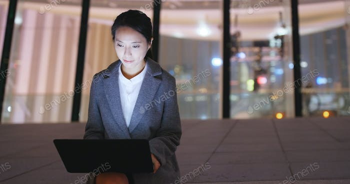 Young businesswoman work on notebook computer