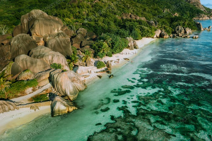 Aerial view of dreamy exotic beach Anse Source d'Argent at La Digue island, Seychelles