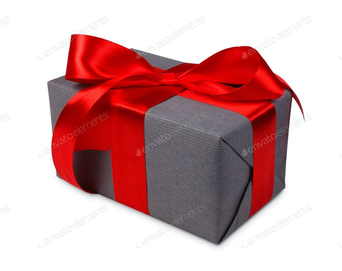 Christmas holiday gift box in gray paper isolated on white