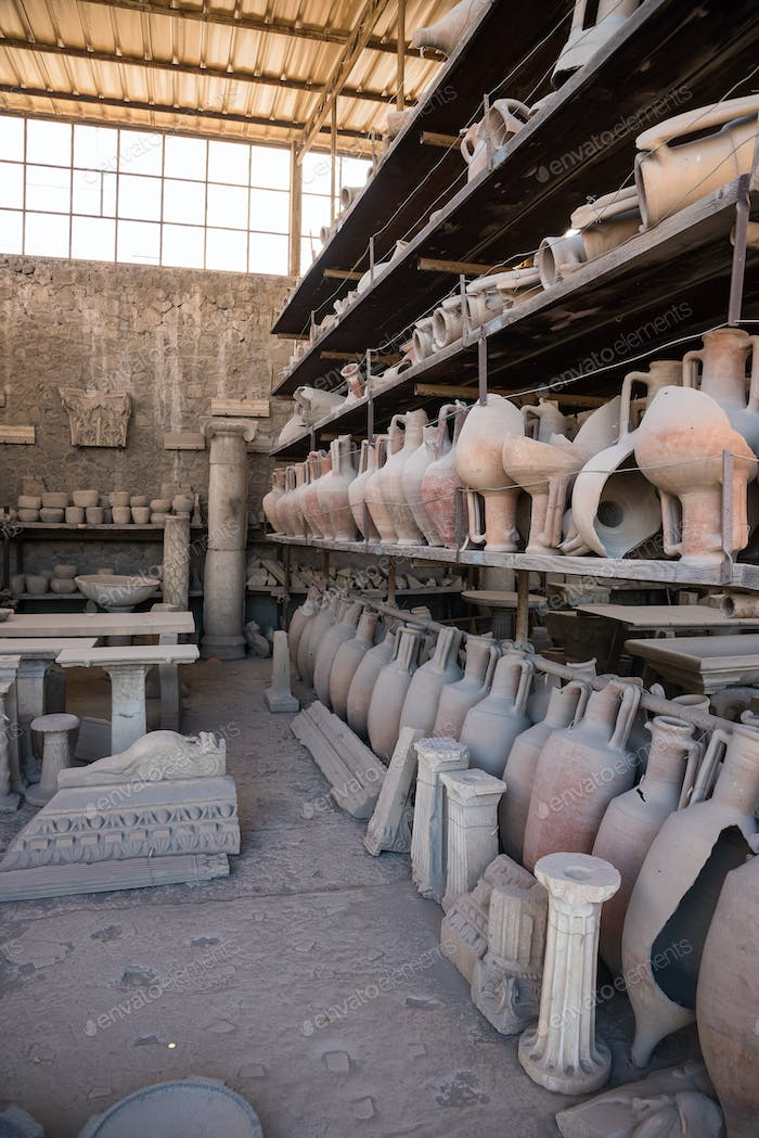 Archaeological finds in Pompeii, the ancient Roman city