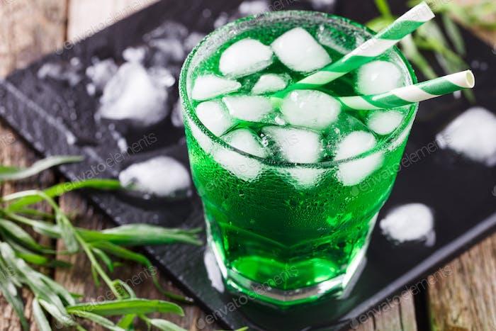 Green tarragon drink  Patrick's Day.