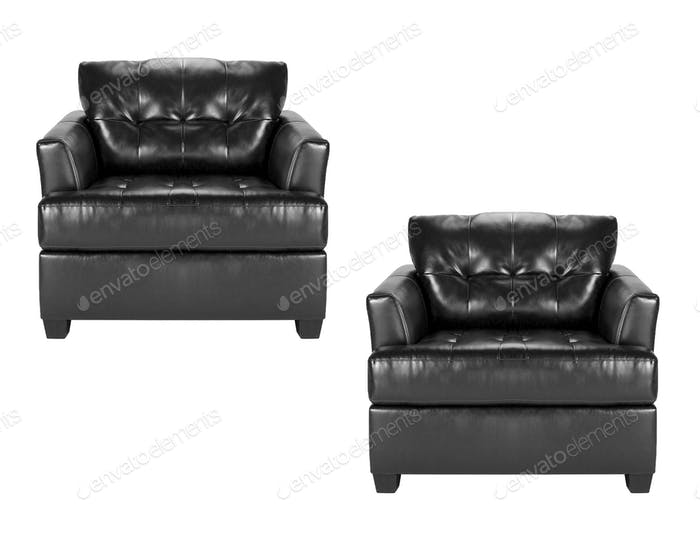 black leather chairs isolated