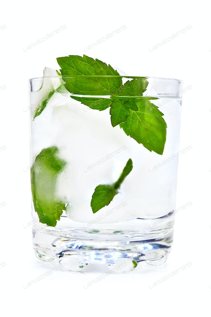 Ice water and mint