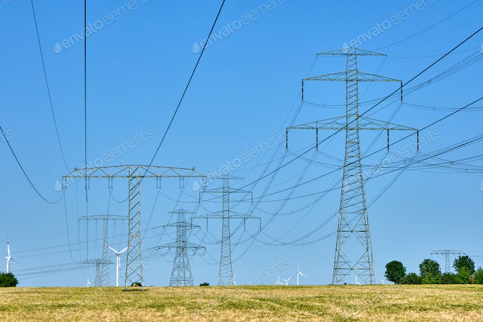 Electricity pylons and power lines