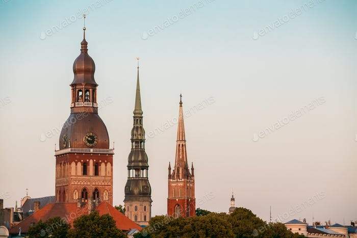 Riga Latvia. Close Three Towers Of Riga Cathedral, St. Peter's C