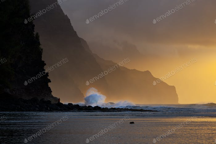Na Pali Coast Wave Sunset, Kauai