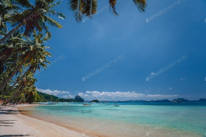 El Nido, Palawan, Philippines. Beach coastline. Shallow lagoon, sandy beach with palm trees. Travel