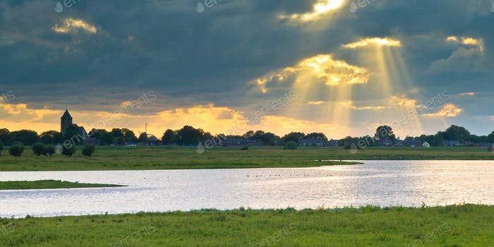 Dutch IJssel river landscape