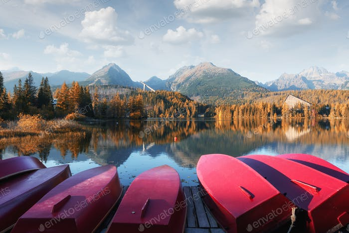 Strbske pleso lake in Slovak High Tatras mountains
