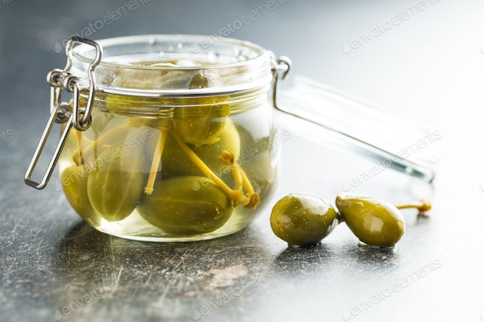 Pickled caper berries.
