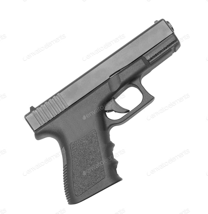 automatic hand gun on white background