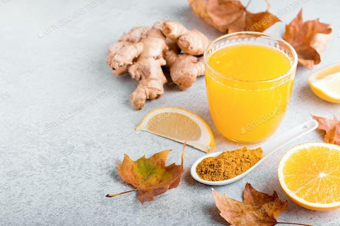 Lemon, ginger and turmeric immune boosting smoothie