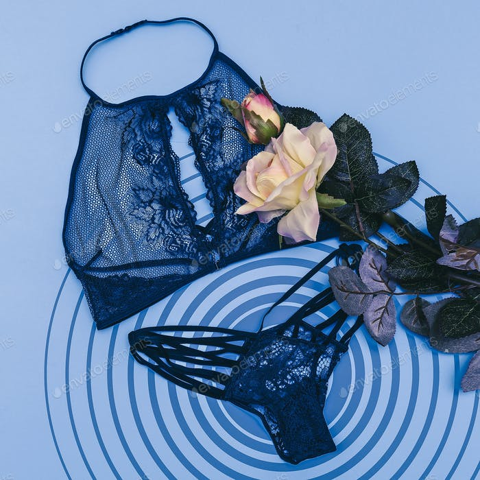 Underwear Woman set. Top view. Flat lay. Fashion clothes concept