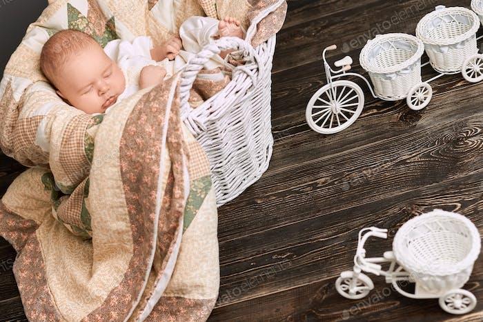 Baby sleeping in the basket