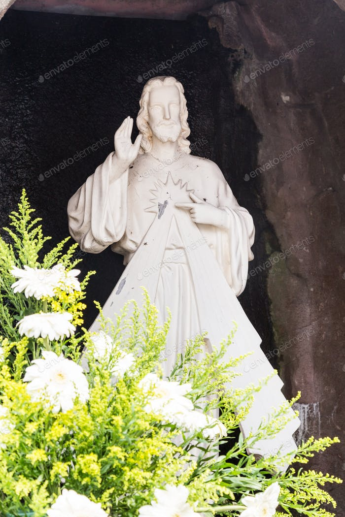 Statue of Jesus Christ in grotto of a Catholic Church