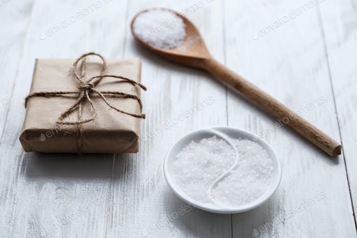 sea salt on wooden background
