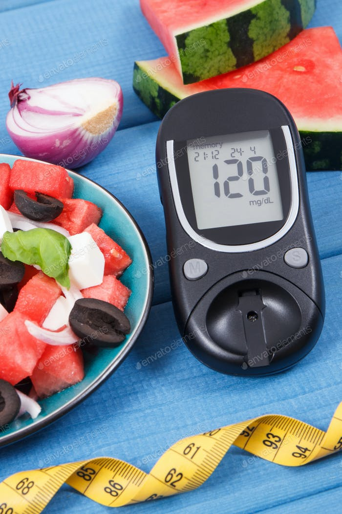 Glucose meter for measuring sugar level and fresh salad