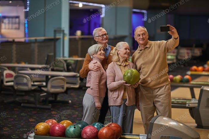 Senior People Taking Selfie at Bowling