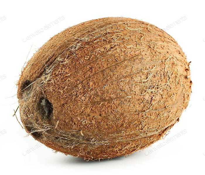Brown ripe coconut