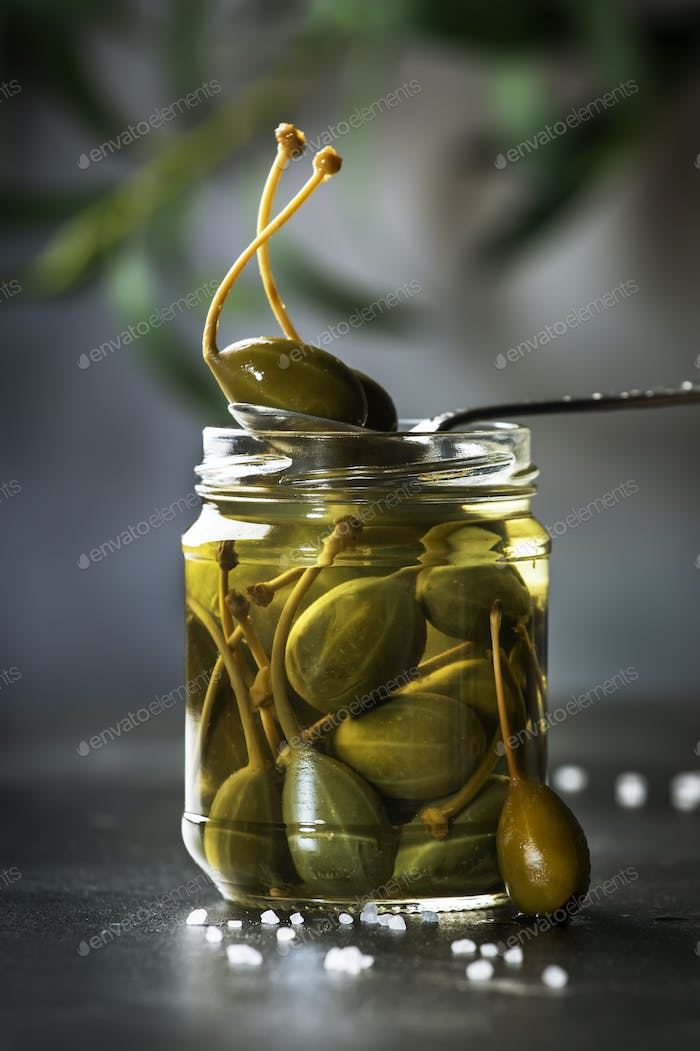 Capers. Marinated or pickled canned capers fruit