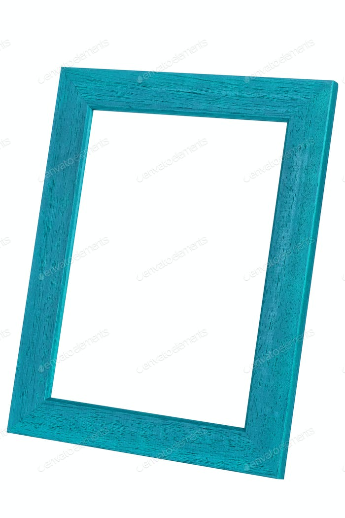 Blue wooden picture frame on a white background