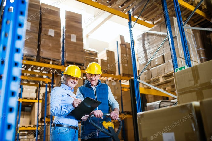 Senior woman manager and man worker working in a warehouse.