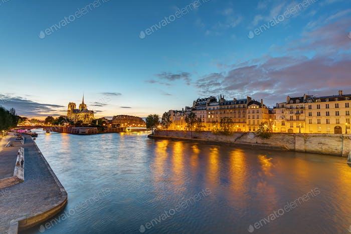 The river Seine in Paris at dawn