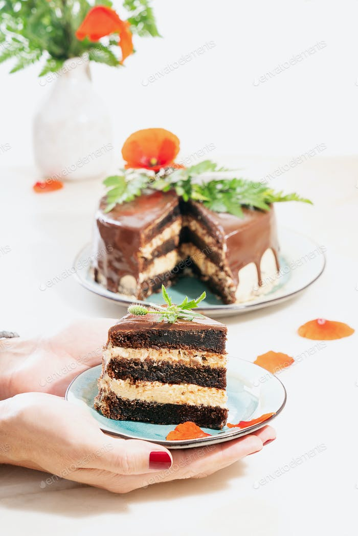 Homemade chocolate cake with peanut butter cream layers