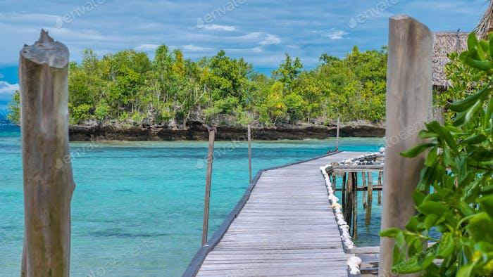Pier of Bamboo Huts, Kordiris Homestay, Palmtree in Front, Gam Island, West Papuan, Raja Ampat