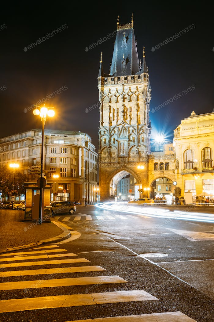 Night View Of The Powder Tower Or Powder Gate. This Landmark Is