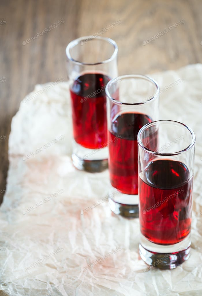 Glasses of cherry brandy