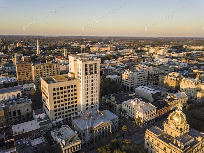 Aerial view of downtown Savannah, Georgia, USA, at dawn.