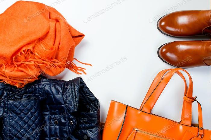 Flat lay set of  Feminine clothe  in autumn style