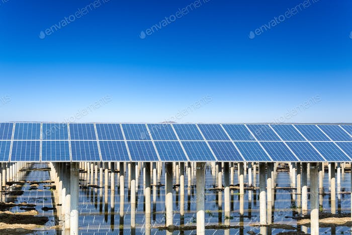 solar energy with blue sky