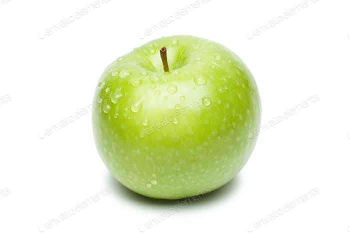 Fresh Green Apple With Waterdrops