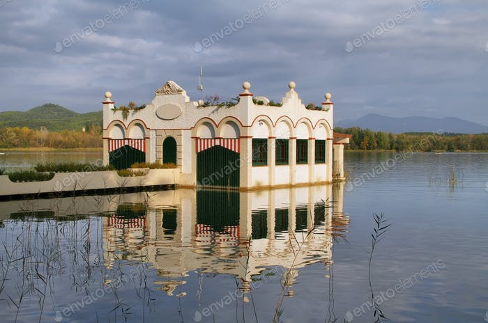 View of old bathhouse in Lake of Banyoles