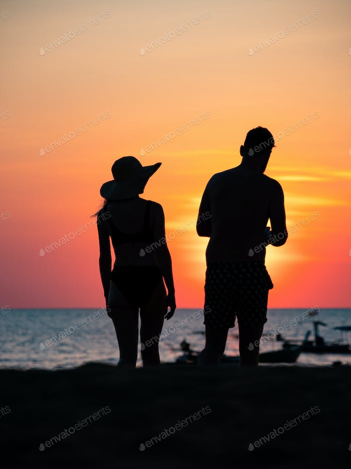 Silhouette of people at Sunset in Ao Nang Krabi