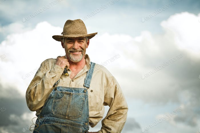 1930s farmer smiling at the camera