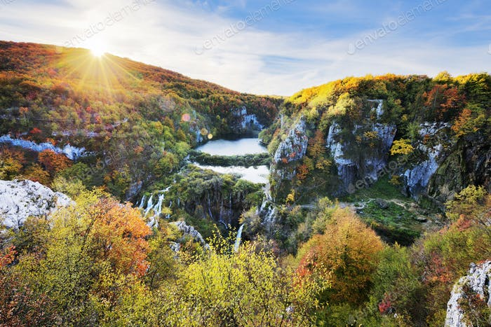Waterfalls in the sunshine in Plitvice National Park