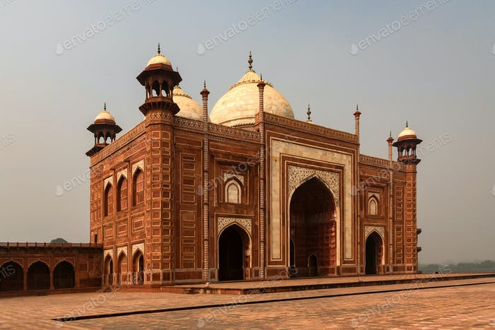 View of beautiful mosque on territory of Taj-Mahal
